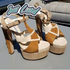 brian atwood cream heel sandals platform